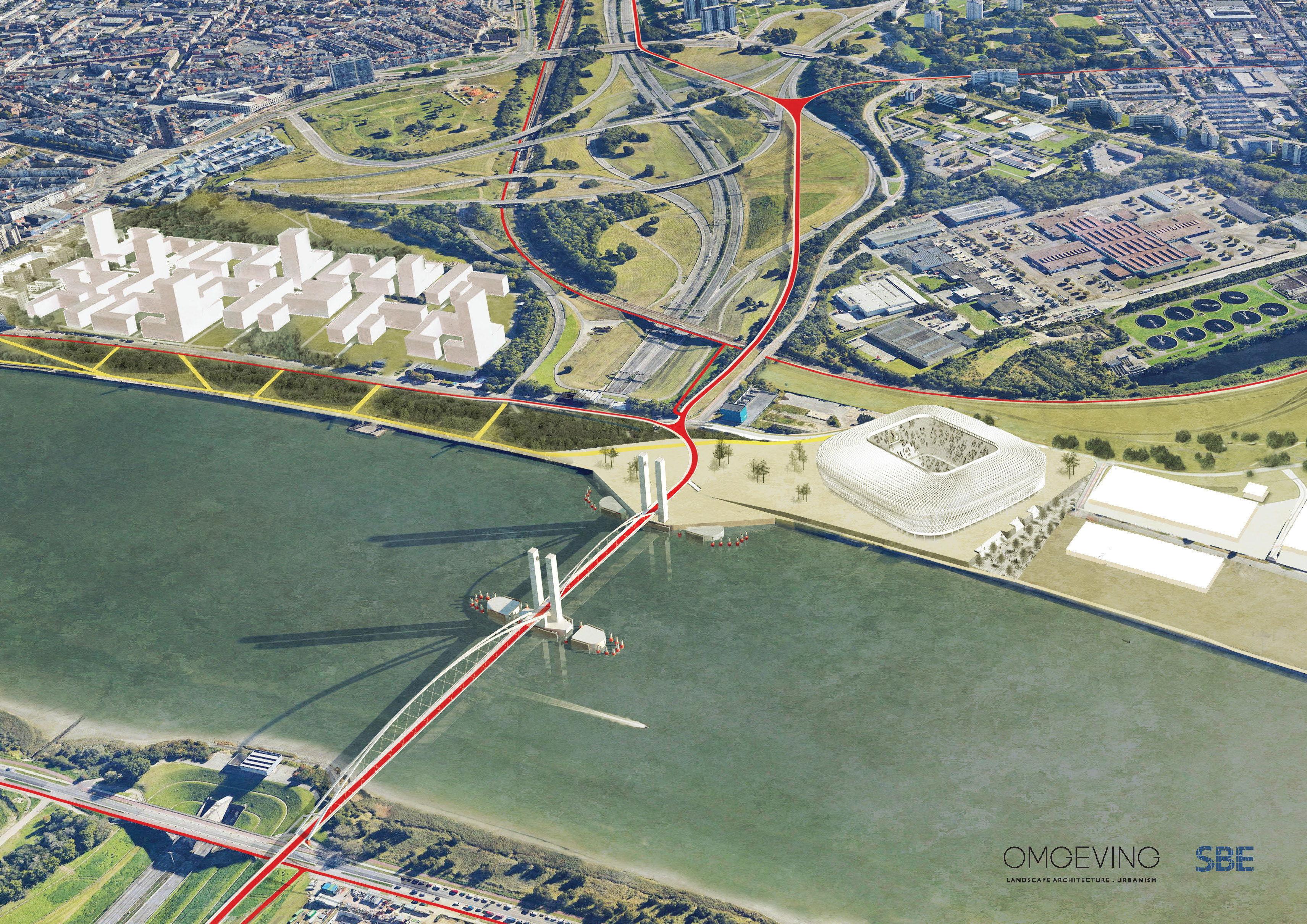 Richtinggevend ontwerp van de geplande fiets- en wandelbrug over de Schelde.